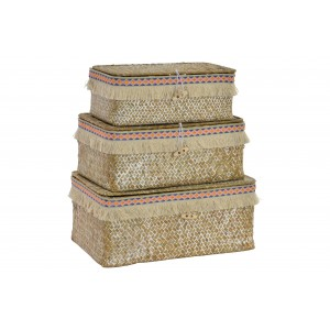 Set of 3 baskets of fiber with Boho - Home and more