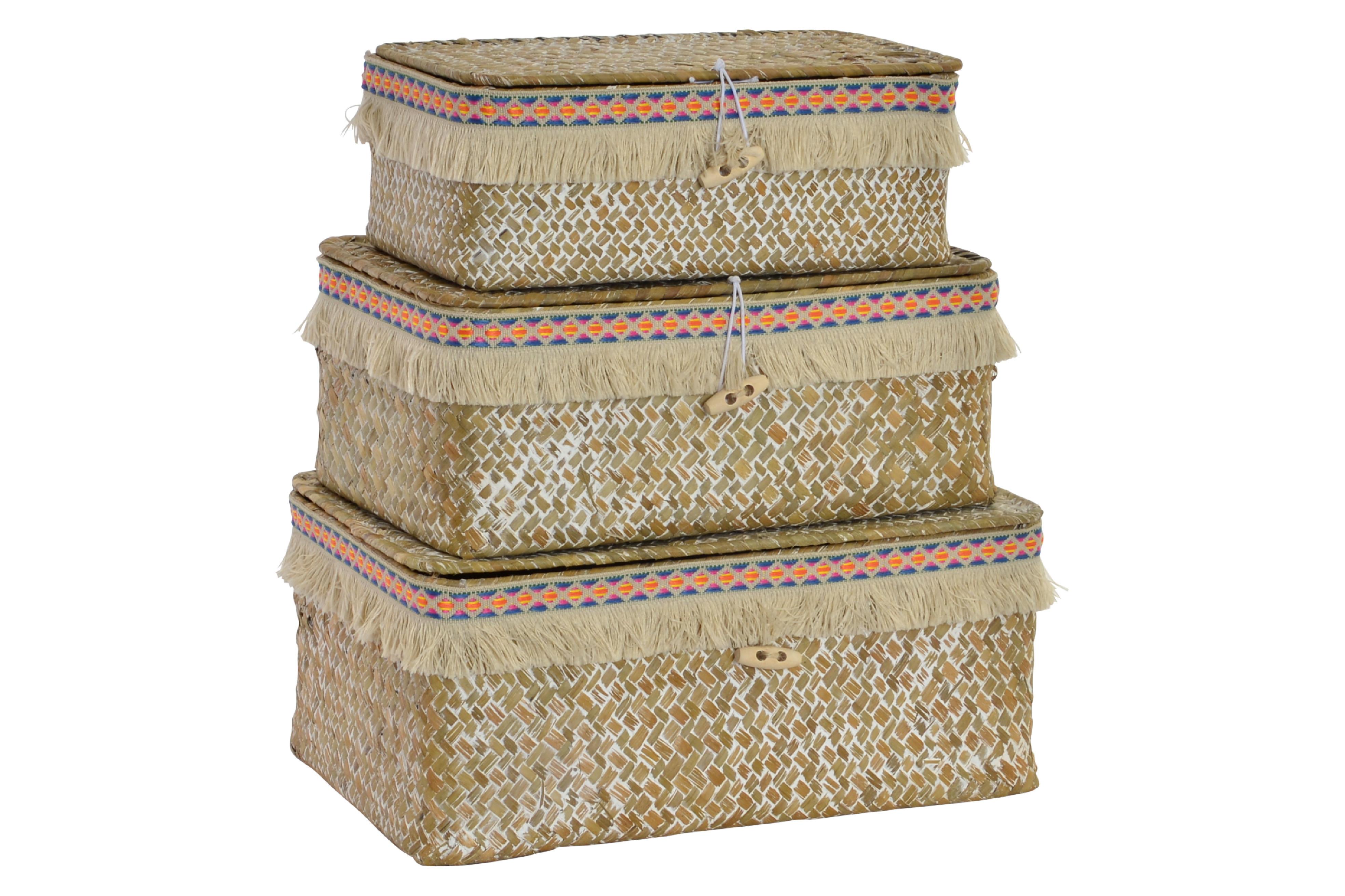 Set de 3 cestas de fibra con estilo Boho - Hogar y más