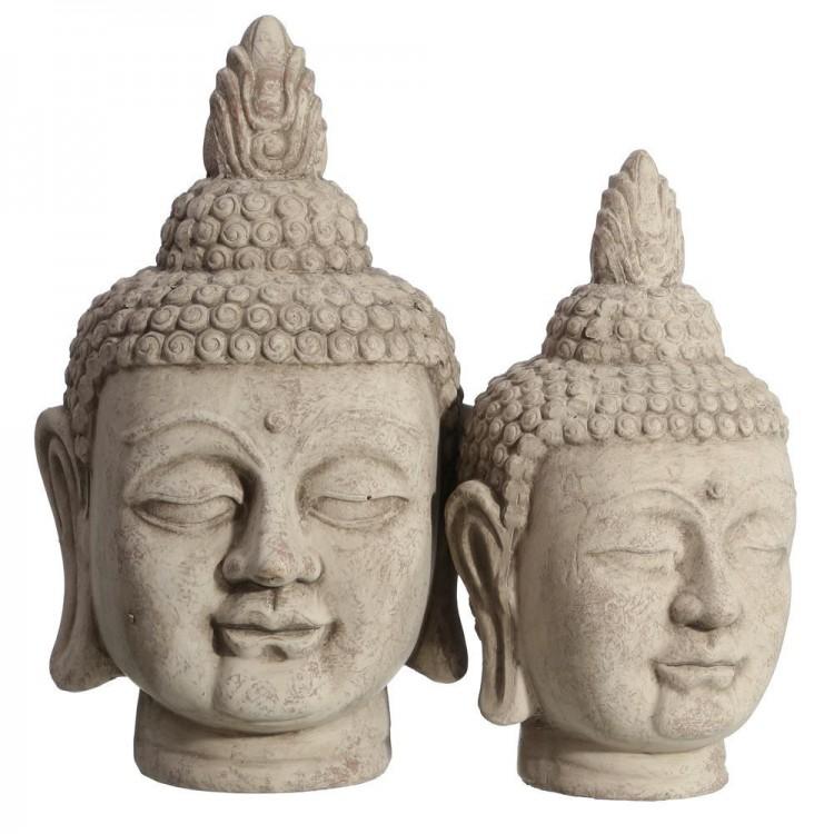 Cabeza de Buda Figura de cerámica mística de color gris Zen - Hogar y Mas