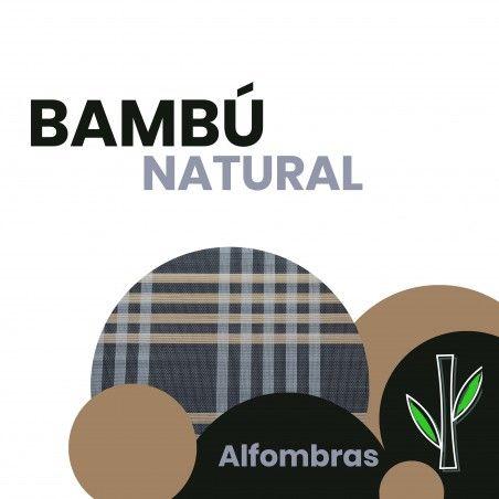 Alfombra de Bambú Natural firma Columbia en azul oscuro y marron claro de Hogar y Más