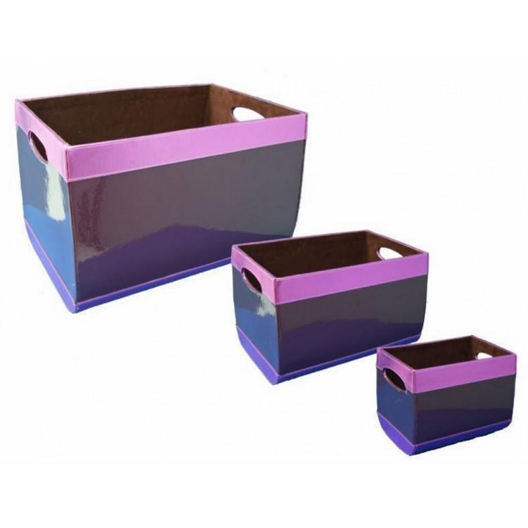 Cajas de almacenamiento de color Morado Metálico, diferentes tamaños. Originales/Vintage.-Hogarymas-