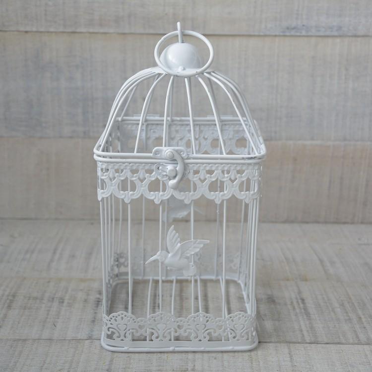 Jaula decorativa de metal  elegante con colibrí - Hogar y Mas