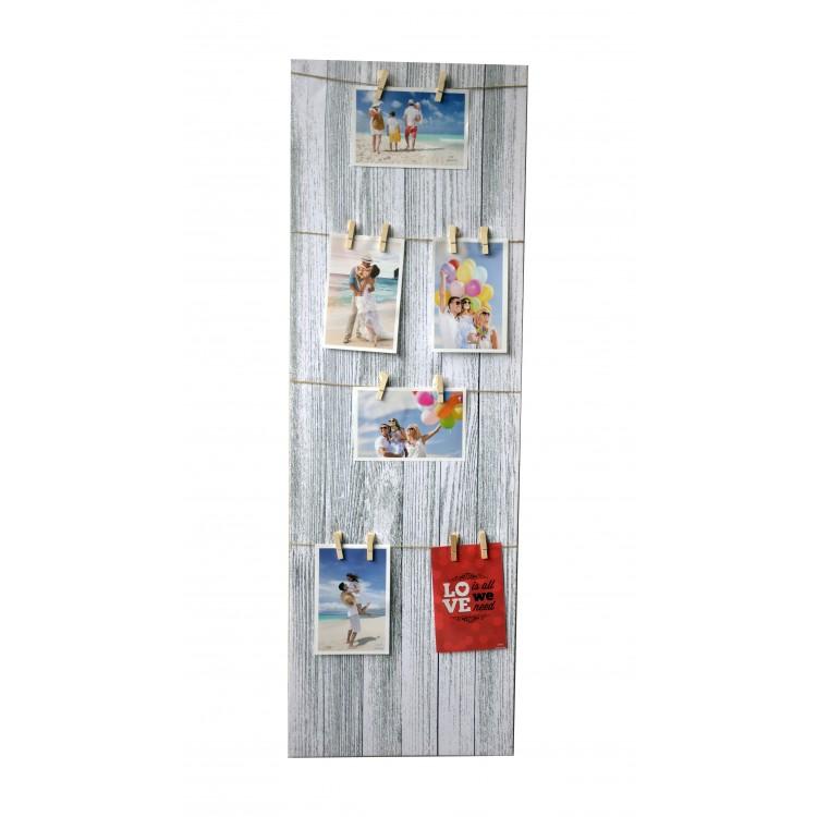 Marco multifoto de pared vertical, moderno y original de lienzo textil,con pinzas Memories. 30 x 90 cm. Hogar y Mas.