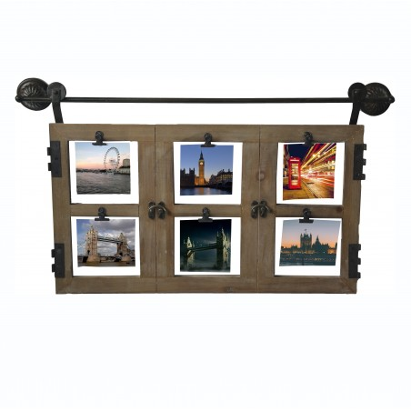 Marco multifoto de pared original de madera natural para 6 fotografías estilo ventana - Hogar y Mas