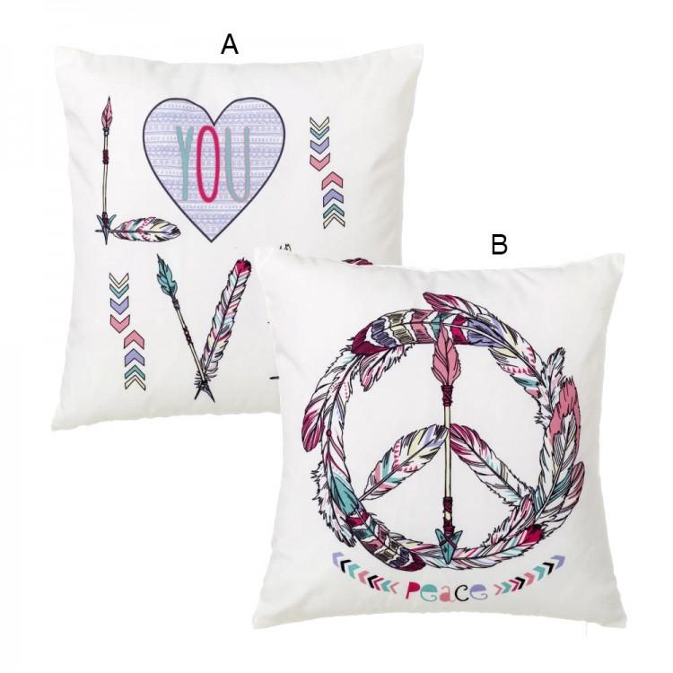 Cojín Peace & Love de Poliéster - Hogar y más