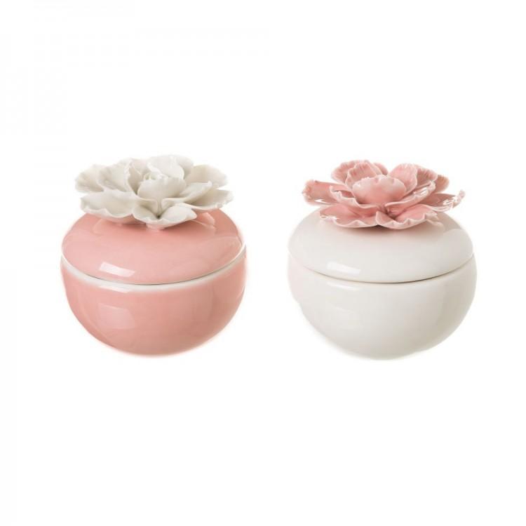 Cajita - Joyero con rosa en la tapa - Hogar y más