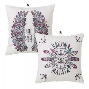 Cushions with phrases motivating Hakuna Matata & Free Spirit - Home, and more