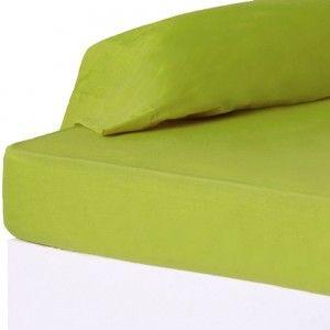 Suave sábana bajera de color verde para cama de 90 - Hogar y más