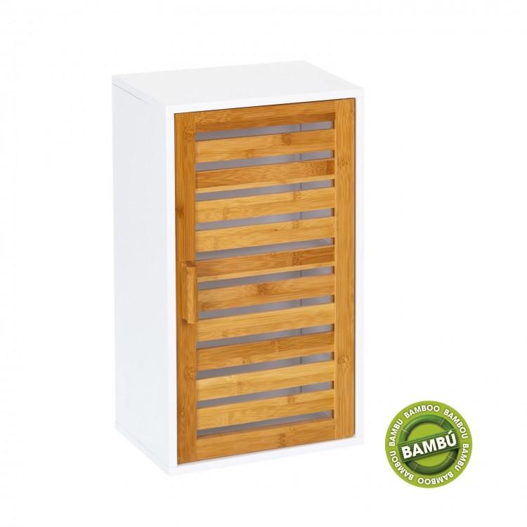 Mueble de pared blanco con puerta de bambú natural. Diseño Natural - Hogar y más