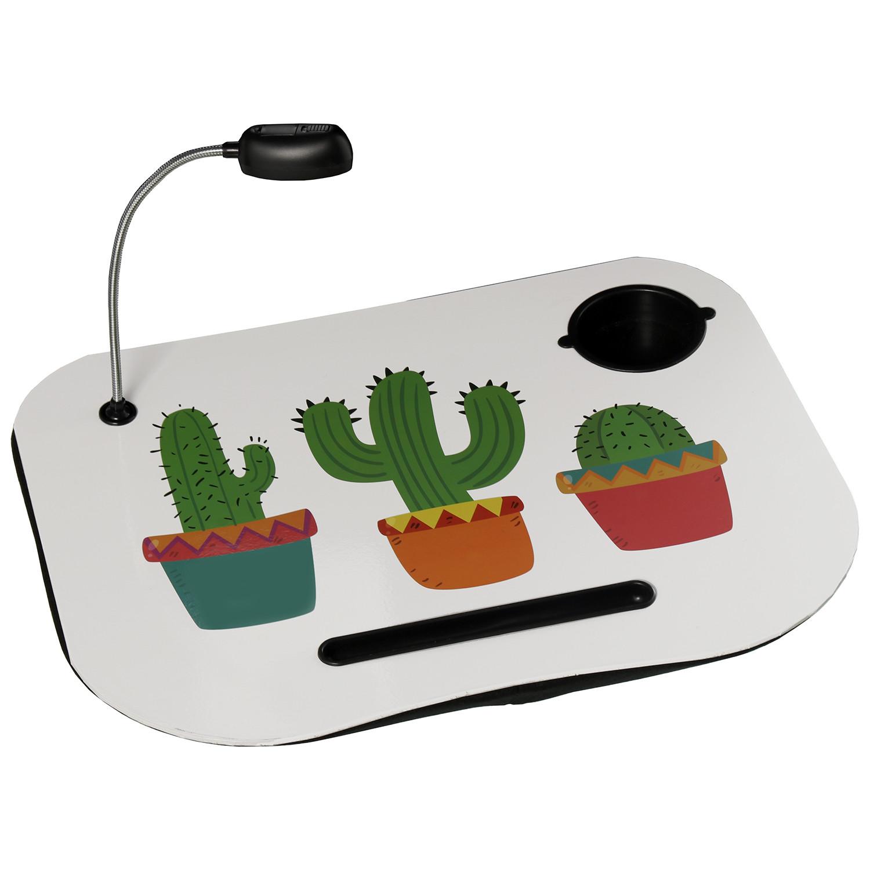 Bandeja de ordenador acolchada y práctica con diseño de Cactus con Lampara Led  - Hogar y Más