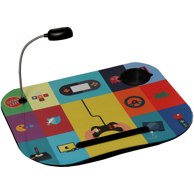 Bandeja de ordenador acolchada y práctica con diseño muy colorido de gadgets con Lampara Led  - Hogar y Más