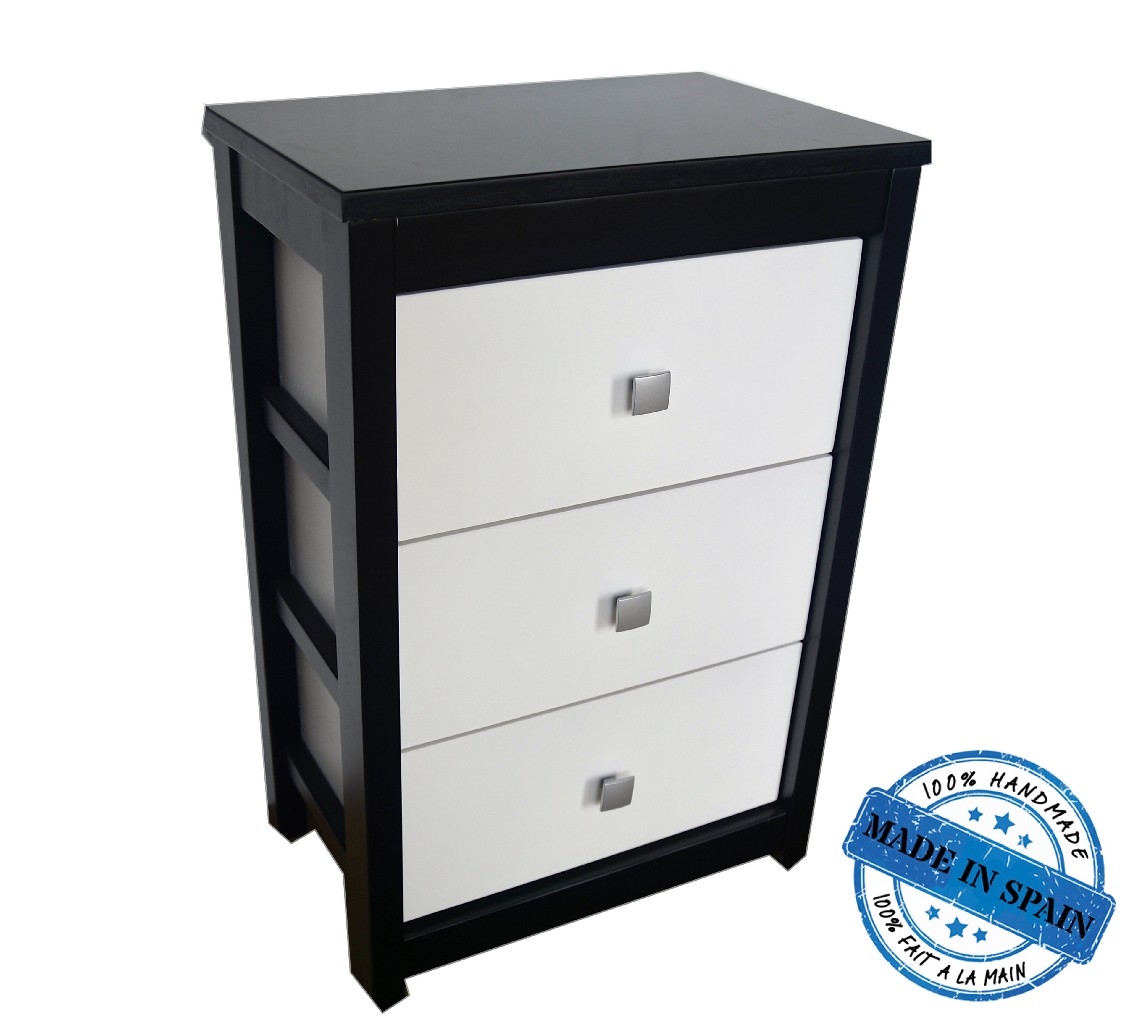 Chest of drawers wide modern natural wood in white and black with 3 drawers England - Home and More