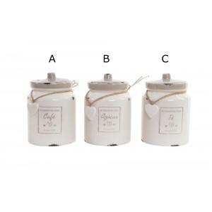 Bote de cerámica para la cocina romántico con tapa para café, azúcar o té - Hogar y Mas