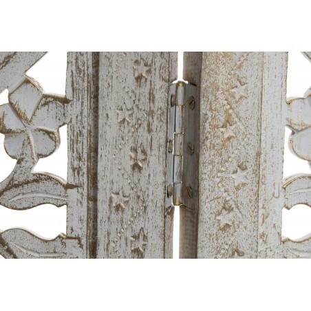 Biombo vintage de 3 paneles de madera tallada para separar ambientes - Hogar y Mas