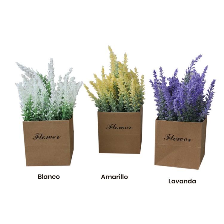 Planta artificial con original maceta de papel en 3 colores Flower