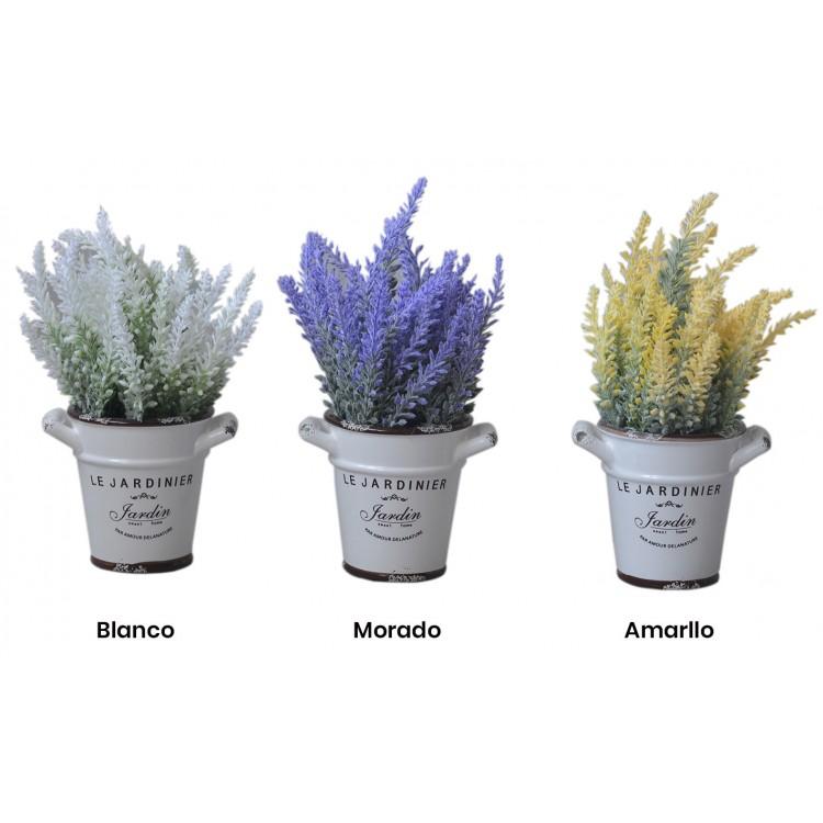 Planta artificial de lavanda con original maceta de cerámica en 3 colores Flower Power - Hogar y más