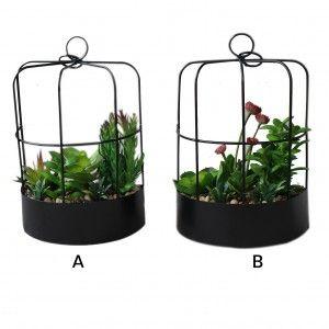 Maceta colgante en forma de media jaula con flores artificiales - Romántico - Hogar y más