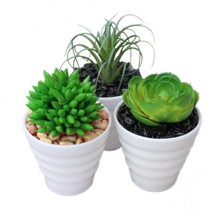 Cactus artificial para decoración con maceta blanca  - Pack de 3 - Diseño Moderno - Hogar y más