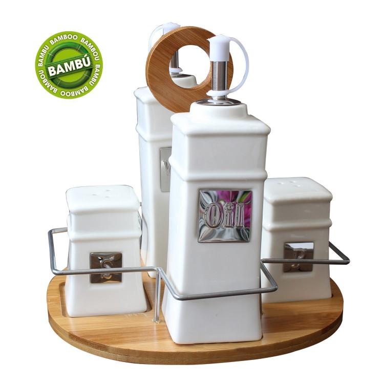 Aceitera Vinagrera moderna de cerámica y bambú natural blanca para cocina - Natural Life - Hogar y más