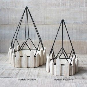 Cage decorative wrought metal and natural wood for decoration - Geometric Design - France - Home and More