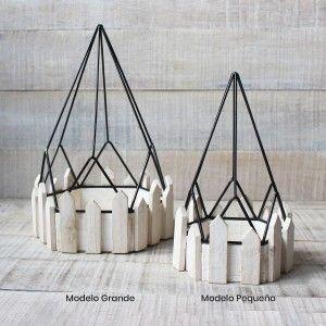 Jaula decorativa de metal forjado y madera natural para decoración - Diseño Geométrico - France - Hogar y Mas