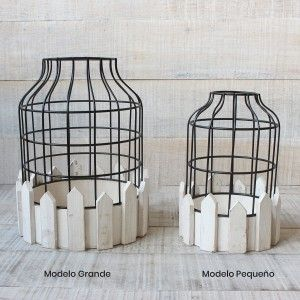 Cage decorative wrought metal and natural wood for decoration - Design-Circular - France - Home and More