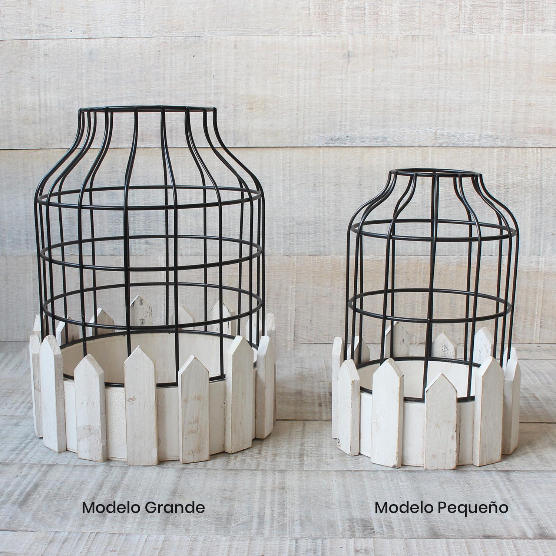 Jaula decorativa de metal forjado y madera natural para decoración - Diseño Circular - France - Hogar y Mas