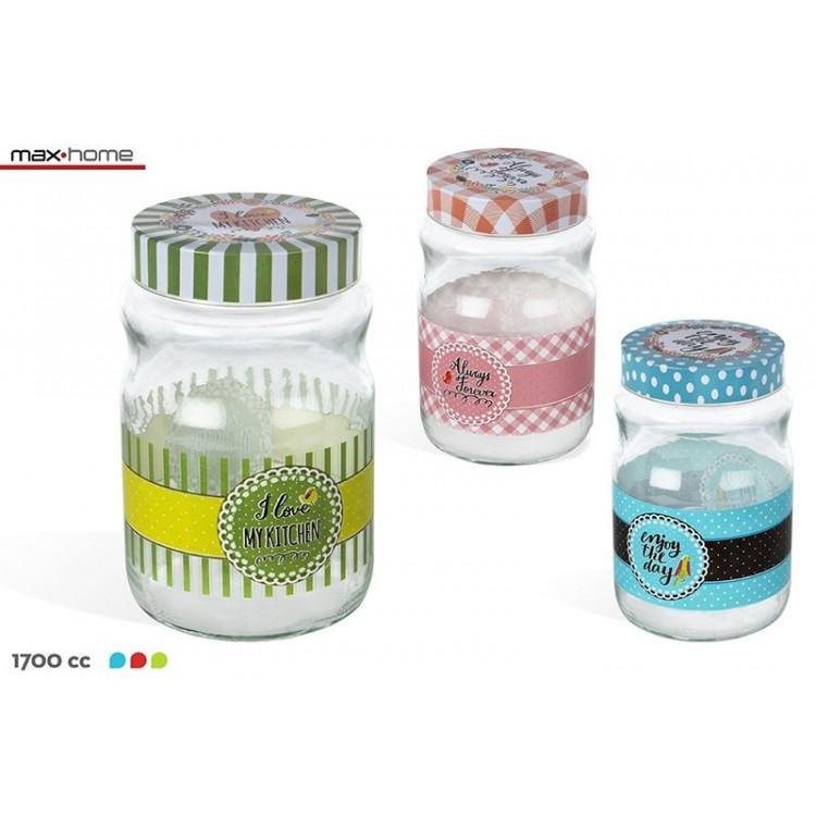 Tarro de cristal con tapa metálica para guardar alimentos, de diseño original y motivador-Hogar y Mas