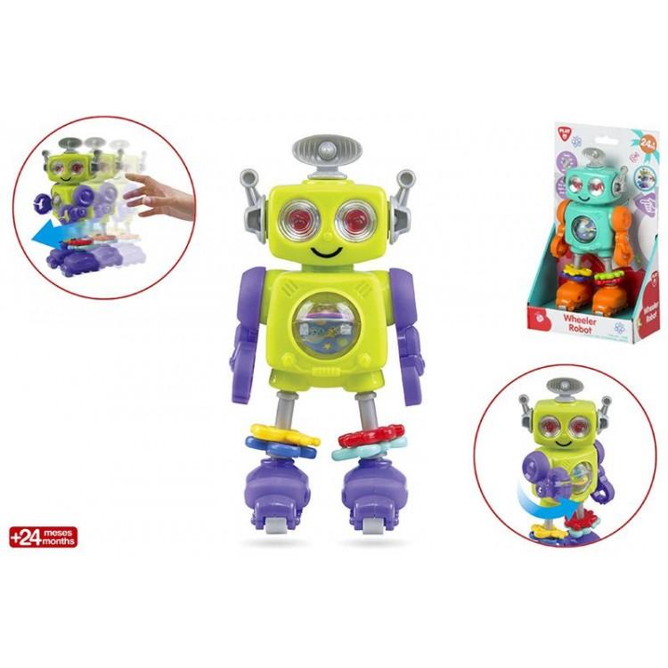 Muñeco robot infantil patinador de actividades,  con original diseño y colores llamativos-Hogar y Mas
