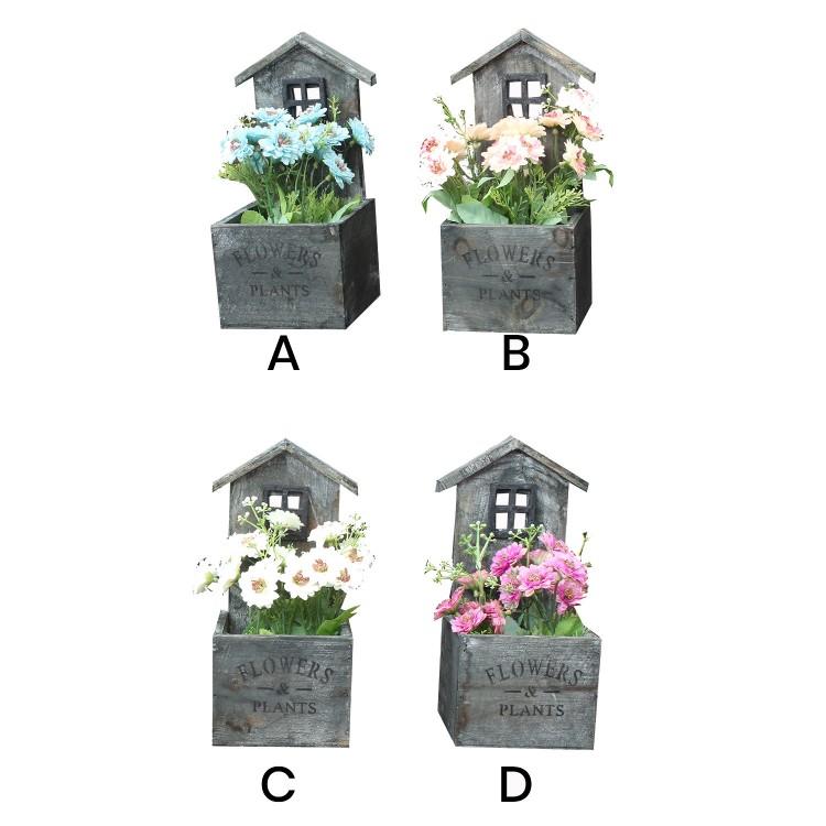 Macetero decorativo de madera natural en forma de casa Garden con pátina gris para jardín  - Edición Natural- Hogar y más