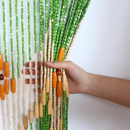 Cortina de colores de madera natural para puerta - Diseño colorido y étnico - Natural- Hogar y más.