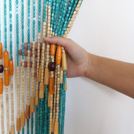 Cortina de colores de madera natural para puerta - Diseño azul - Natural- Hogar y más.