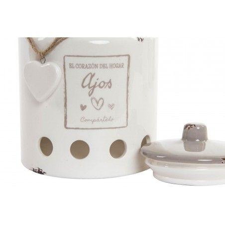 Tarro de cerámica para ajos vintage, en color beige envejecido-Hogar y Mas