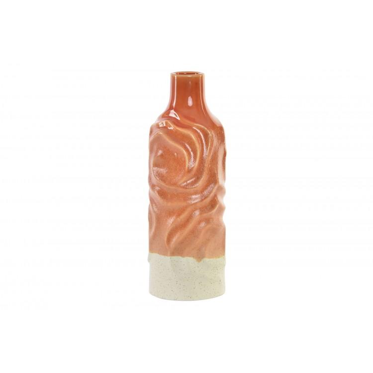Jarrón redondo de porcelana naranja de 34 x 12 cm,  para decoración, diseño ondas-Hogar y Mas