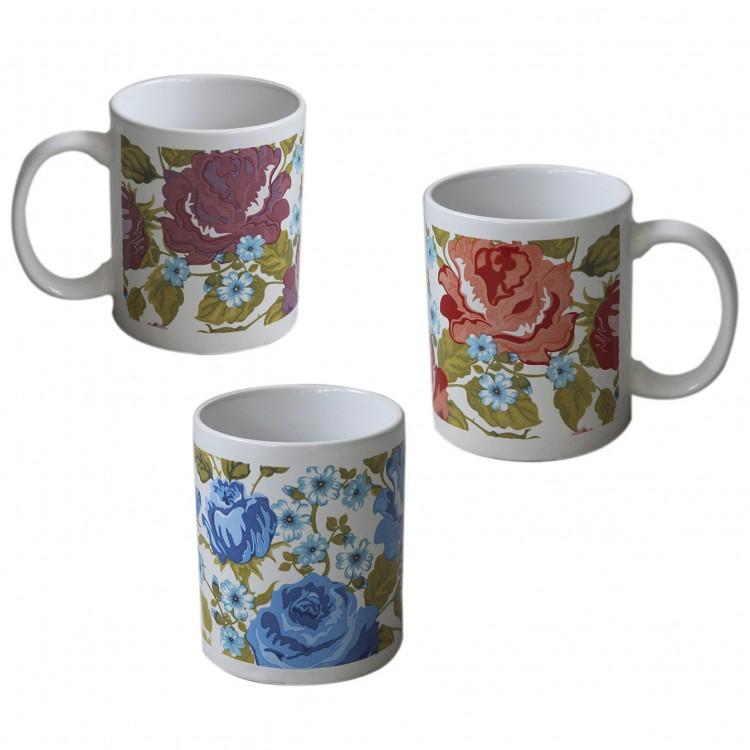 Taza vintage de flores para desayuno. Diseño floral. En cerámica con asa. Hogar y más.