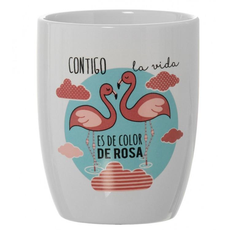 Taza para Desayuno de Cerámica Diseño divertido de flamencos - Frases divertidas - Hogar y más