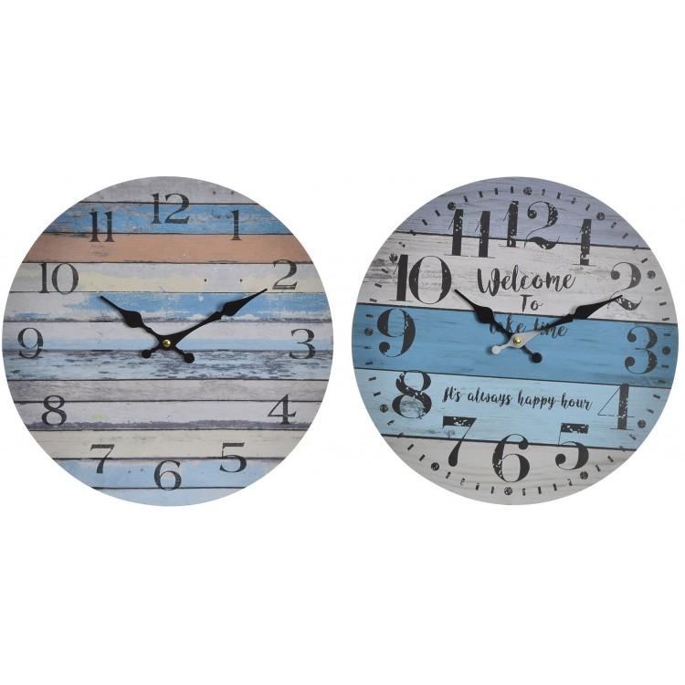 Reloj de pared en madera estilo marinero. Diseño colorido con rayas - Hogar y más