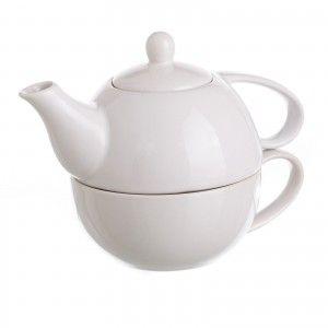 """Tetera y taza de cerámica blanca""""Stoneware"""" para desayuno - Edición Bassic - Diseño Blanco - Hogar y más"""