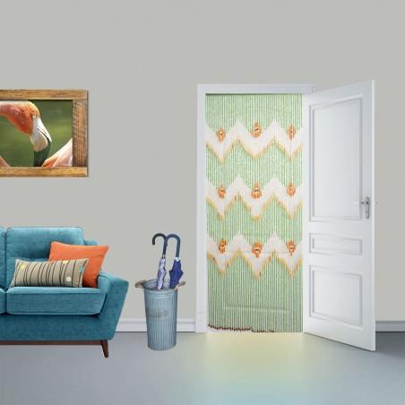 Cortina para puerta exterior verde,  abalorios de madera - Diseño étnico - Natural- Hogar y más.