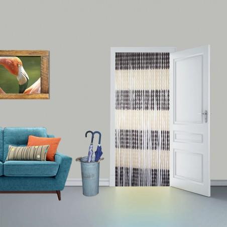 Cortina para puerta en color marrón y beige de pvc- Edición Bassic -Diseño Original - Hogar y más.