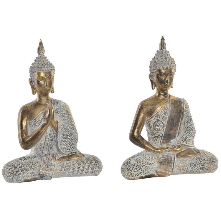 Figura de Buda dorado para decoración. Diseño Zen - Wabi Sabi- Hogar y más.