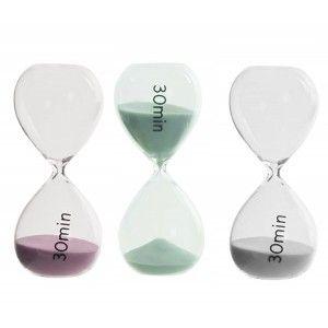 Reloj de arena de cristal de 30 minutos en 3 colores - Hogar y mas