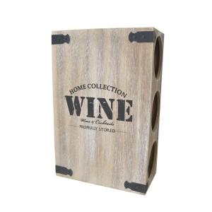 Wine rack wood made in metal and wood ,scrape.