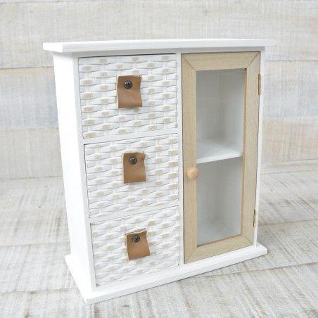 Cajonera con 3 cajones y mini armario con dos baldas para joyas - Diseño Nórdico - Edición France - Hogar y más