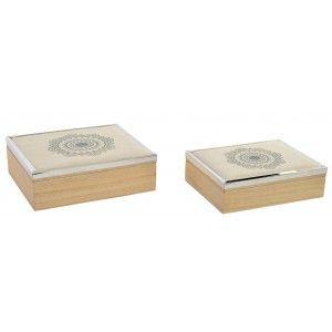 Caja de madera natural en set de 2 unidades para joyas - Estilo étnico - Natural - Hogar y más