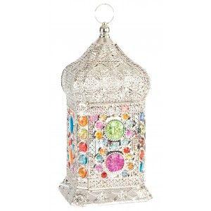 Lámpara de mesa de metal acrílico para dormitorio - Diseño étnico - Colorido- Hogar y más