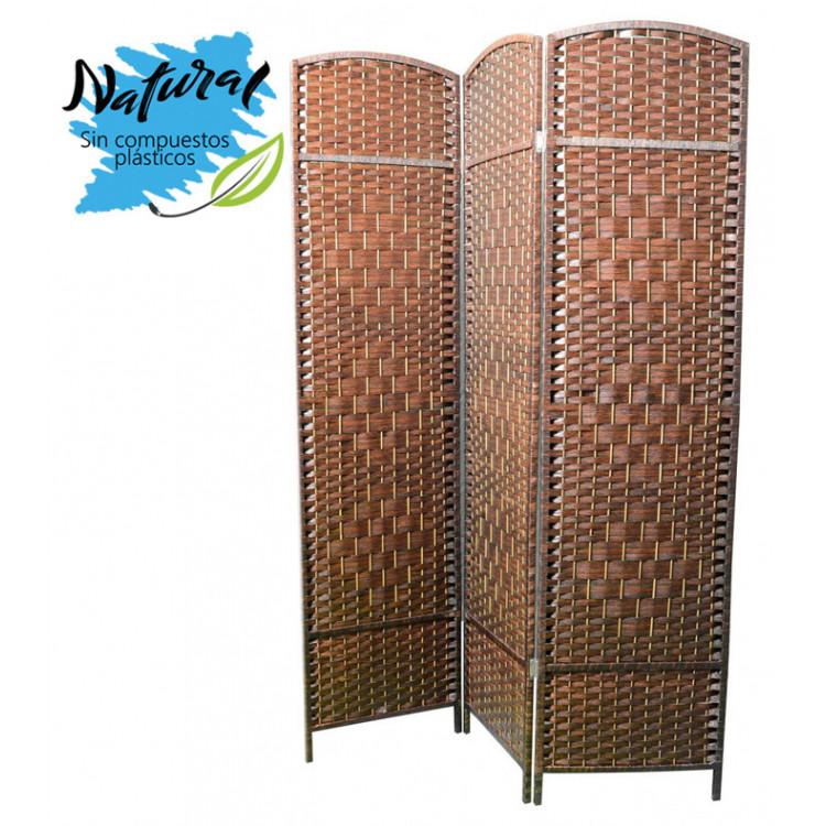 Biombo Bambú Natural Color Cerezo 3 Paneles para decoración 135 x 180 cm - Hogar y más