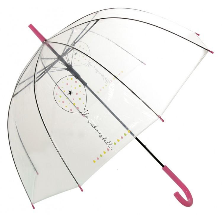 Paraguas burbuja transparente con frase original La vida es bella 85 X 80 CM - Hogar y Mas