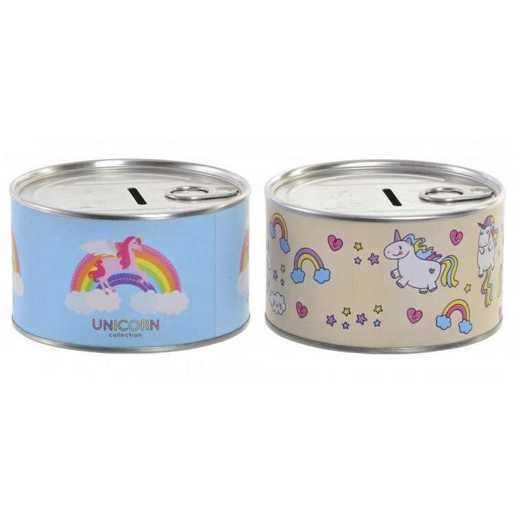 Hucha de metal para ahorrar en forma de lata con dibujo de unicornio 10.5 x 6 cm - Hogar y más