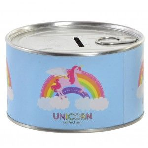 Piggy bank metal saving in the form of a tin with a drawing of a unicorn 10.5 x 6 cm - Home and more